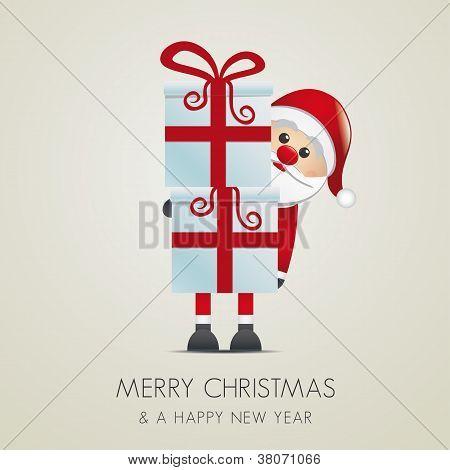 santa gift boxes with red ribbon