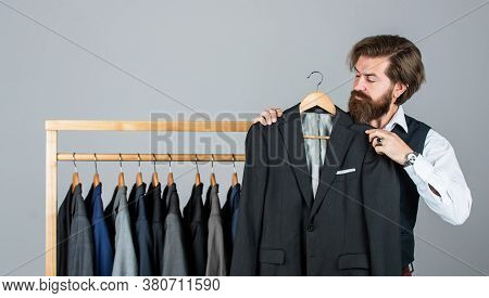Always Available. Tailor In His Workshop. Handsome Bearded Fashion Man In Costume Suit. Man In Custo