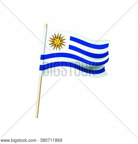 Uruguay Flag. Sun On Four Blue And Five White Stripes. Vector Illustration