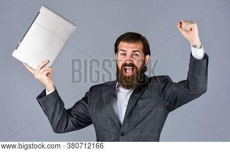 He Is So Happy. Agile Business. Online Education Concept. Go Shopping Online. Confident Businessman