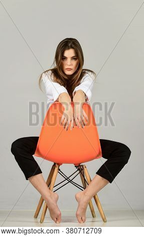 Hairdresser Salon. Woman Sensual Look. Fashion Model Looking Casual. Stay Home. Playful Model Long H