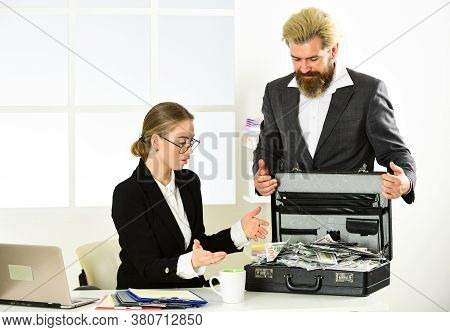 Suitcase With Money. Good Deal. Modern Life And Business. Corporate Leather Bag. Two People With Cas