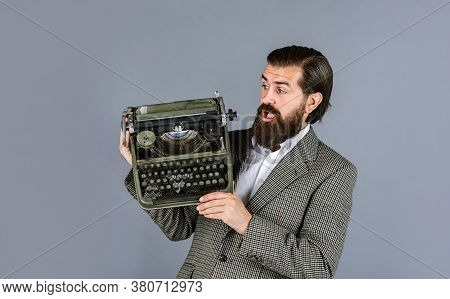 What A Surprise. Bearded Man In Jacket With Retro Type Writer. New Technology In Modern Life. Man Wo