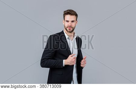Confident And Stylish. Sexy Ceo On Gray Background. Modern Office Life. Charismatic Business Owner.