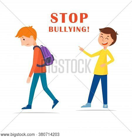 Stop Bullying In The School. Cartoon Vector Illustration, Isolated On White Background. The Boy Laug