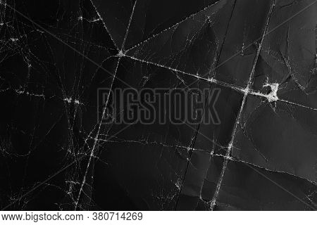 Black Paper Background. Old And Crumpled Material