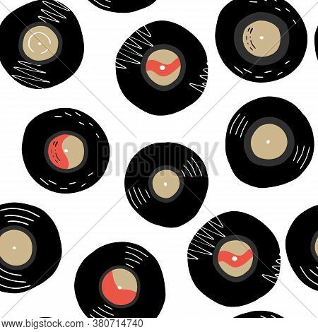 Vinyl Records Hand Drawn Seamless Pattern. Music Endless Ornate For Coverage, Wrapping Paper, Textil