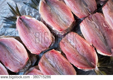 Fresh Clean And Open Raw Sardines At Fish Market