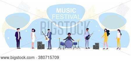Vector Illustration Of Music Festival. Popular Music Band Of Guitarists And Drummer Performing For F