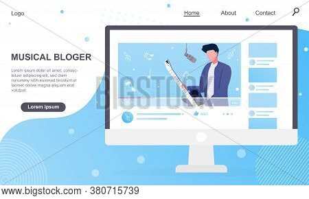 Vector Illustration Of Music Blogger Playing Guitar. Computer Monitor With Popular Vlogger Playing O