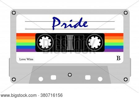 Illustration of Cassette gay pride music, rainbow LGBT. Tape LGBTQI. Antique Stereo audio vintage
