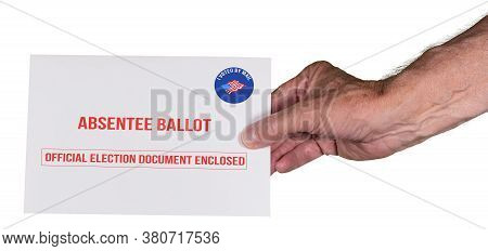 Absentee Ballot Voting By Mail Envelope Being Handed In By A Senior Mans Hand As Alternative To Voti