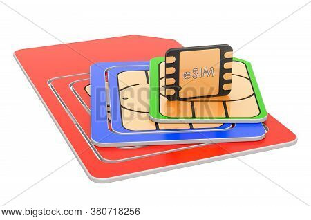 Set Sim-cards For Mobile Devices With Chip, 3d Rendering Isolated On White Background