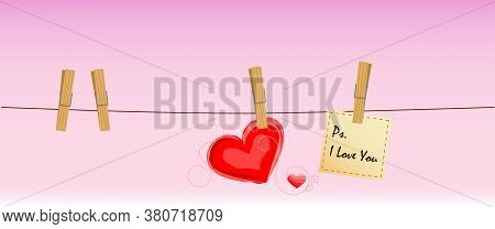 Illustration valentines day Clothesline love, Ps I love you. Romantic Soft, wood, write