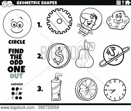 Black And White Cartoon Illustration Of Circle Geometric Shape Educational Odd One Out Task For Chil
