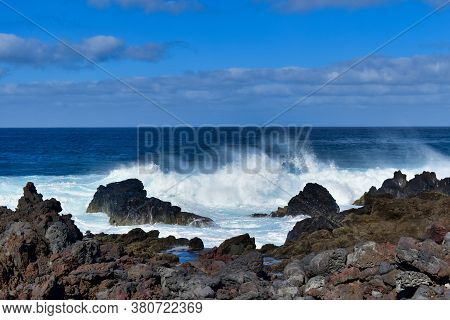 View Of Waves On The Coast Of Lanzarote Island, Canary Islands, Spain