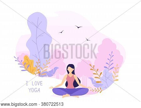 Girl Does Yoga And Meditation In Park On Pink And Purple Nature Background. Beautiful Woman Sitting