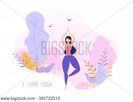 Body Positive, Beauty And Healthy Lifestyle Concept On Pink And Purple Nature Background. Beautiful