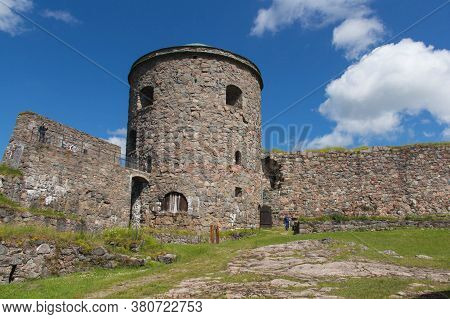 Bohusl N, Sweden - June 17 2019: The View Of Bohus Fortress Inner Yard And Tower On June 17 2019 In