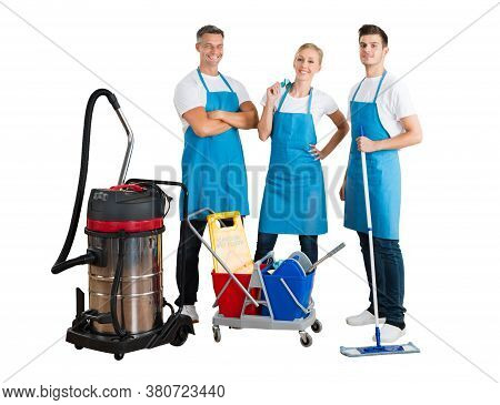 Cleaning Service Professional Janitor Team Or Cleaner Group