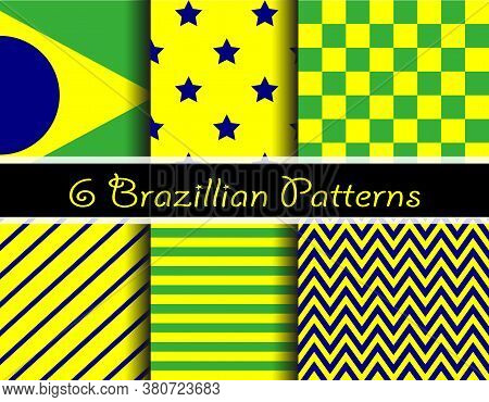Illustration Seamless Pattern Brazilian. Simetric, plaid, stripe, Brazil