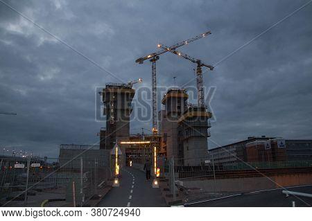 Gothenburg, Sweden - June 17 2019: The View Of Construction In Gothenburg At Sunset Light On June 17