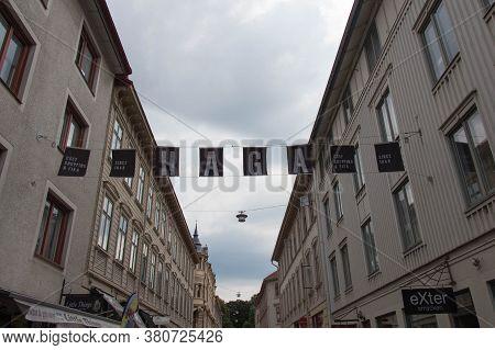 Gothenburg, Sweden - June 18 2019: The View Of Haga District Sign On June 18 2019 In Gothenburg, Swe