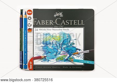 Wetzlar, Germany 2020-07-10: Faber Castell Watercolour Pencils