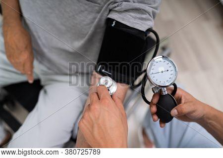 High Cardiovascular Blood Pressure. Hypertension Health Care