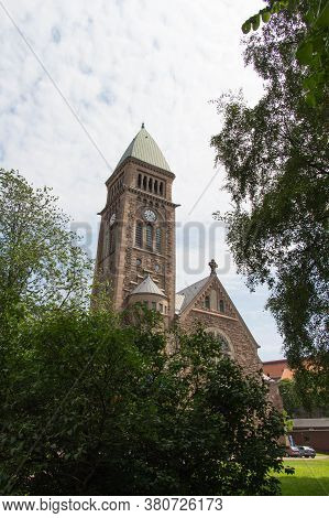 Gothenburg, Sweden - June 18 2019: The View Of Vasa Church Seeing From Trees On June 18 2019 In Goth