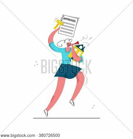 Vector Flat Illustration Young Happy Woman Who Received Approval For Mortgage. She Holds Abstract Ho