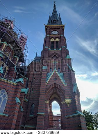 Gothenburg, Sweden - June 16 2019: The View Of Clock Tower Of Oscar Fredriks Church On June 16 2019