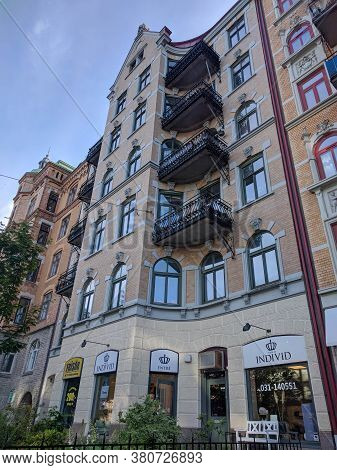 Gothenburg, Sweden - June 16 2019: The View Of Building Facade On A Typical Street On June 16 2019 I