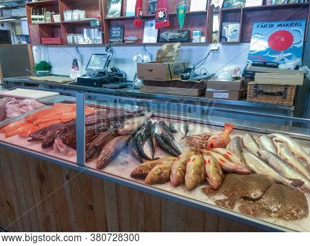 Gothenburg, Sweden - June 18 2019: The View Of Fish Stall In The Market Hall On June 18 2019 In Goth