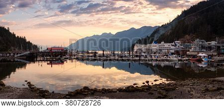Horseshoe Bay With Marina And Howe Sound In Background During A Colorful Summer Sunrise. Located In