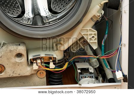 Dismantled washing machine.