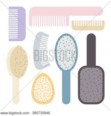 Set Of Combs For Hair. Massage Comb, Hair Brush, Hair Comb. Cute Cartoon Icons. Vector Illustration
