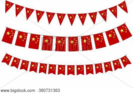 China Bunting. Garland Of The Flags Of China. National Symbols Of China. Jewelry For The Day Of Chin