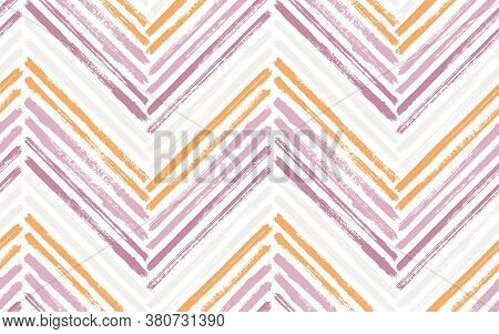 Mexican Zigzag Fashion Print Vector Seamless Pattern. Paintbrush Strokes Geometric Stripes. Hand Dra