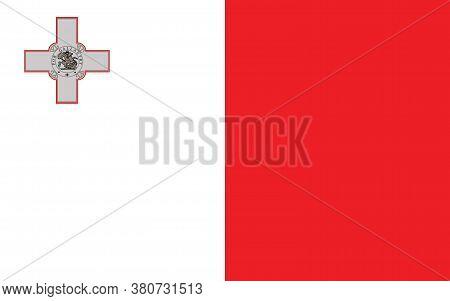 Malta Flag Vector Graphic. Rectangle Maltese Flag Illustration. Malta Country Flag Is A Symbol Of Fr