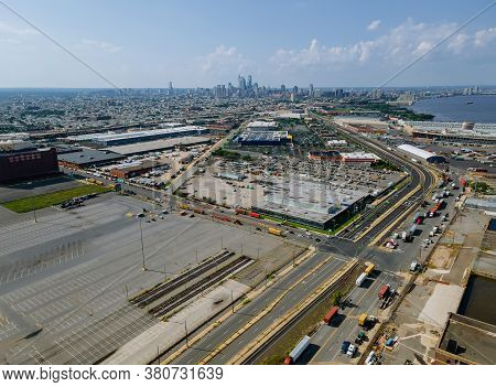 Philadelphia Aerial Perspective At Overhead Aerial View Of The Suburban Area In The Shopping Plaza D