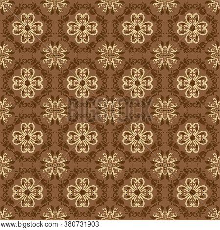 Elegant Flower Motifs On Solo Batik With Simple Brown Mocca Color Design.