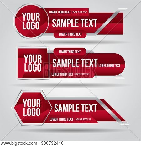 Lower Third Tv Red Design Template Modern Contemporary. Set Of Banners Bar Screen Broadcast Bar Name