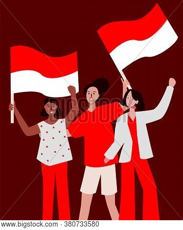 Group Lady Very Happy Smile Holding Red White Flag Celebration Indonesian Independence