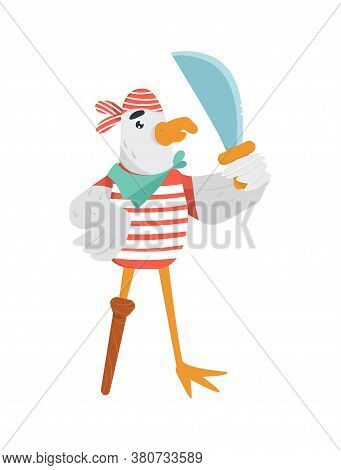 Funny Pirate With Sword And Peg Leg In Striped T-shirt. Isolated Vector Illustration With Seagull As