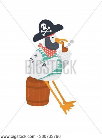 Vector Old Pirate With Smoking Pipe In Cocked Hat. Funny Seagull Character For Marine Theme. Bird In