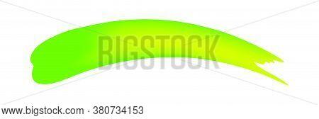 Green Brush Marks Isolated On White, Brushstroke Green For Watercolor Paint Idea