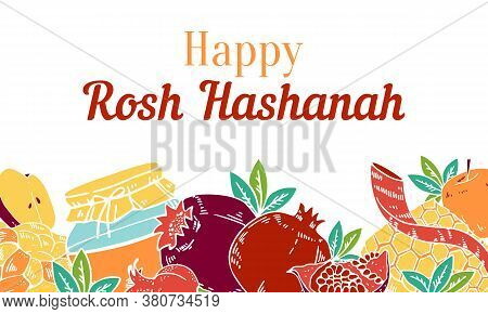 Jewish New Year Rosh Hashanah Design Template With Traditional Objects And Food On The Bottom Of The