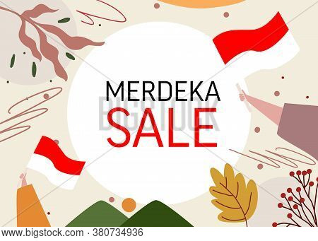Banner For Merdeka August Indonesia Independence Sale Promotion Offer Discount Sale With Frame Hand