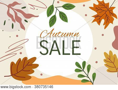 Banner For Autumn Sale Colorful Seasonal Fall Leaves For Shopping Discount Promotion With Flat Style